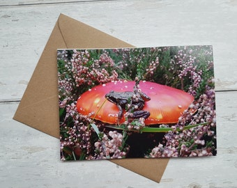 Frog on Toadstall card / Birthday Card