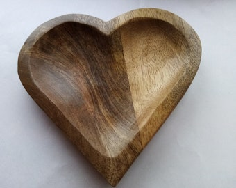 20cm Rustic Heart Solid Carved Wooden Bowl Plate Dish Home Decoration
