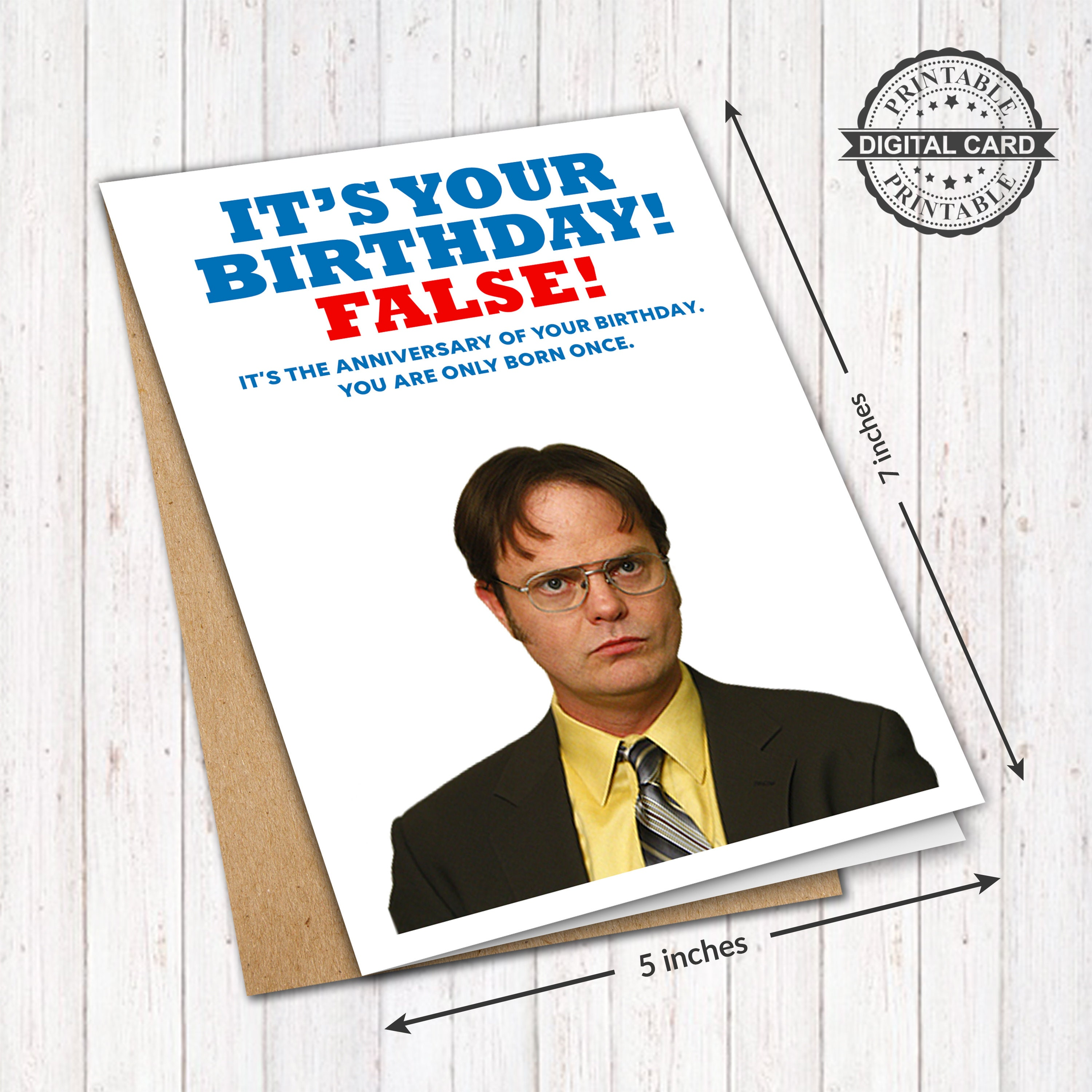 Dwight Schrute Printable Birthday Card The Office Dunder Etsy