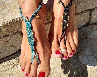 Carnelian creme white Barefootsandals Macrame Barefoot Sandals or Slave Bracelet