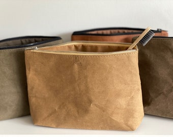 Cosmetic bag - natural kraft washable paper eco friendly vegan sustainable zipper pouch toiletry wash bag