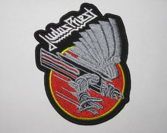 JUDAS PRIEST,SEW ON WHITE EMBROIDERED LARGE BACK PATCH