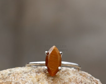 See Video Size 8 Tiger Eye Marquise 8x22 Sterling Statement Ring Also Have Size 6