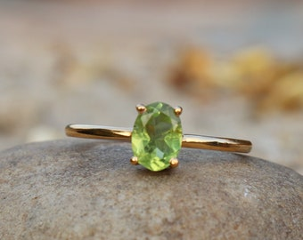August Gemstone Ring Mans Ring Handmade Ring AAA+ Peridot Ring 925 Sterling Silver Yellow Gold Plating Jewelry Octagon Shape Gemstone Ring Anniversary Gift Jewelry Statement Ring