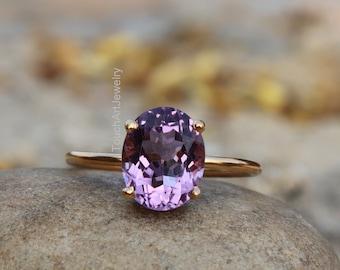 Amethyst birthstone ring gold thumb  ring amethyst ring Birthstone ring wide  gemstone ring brass gemstone ring gold ring thin ring