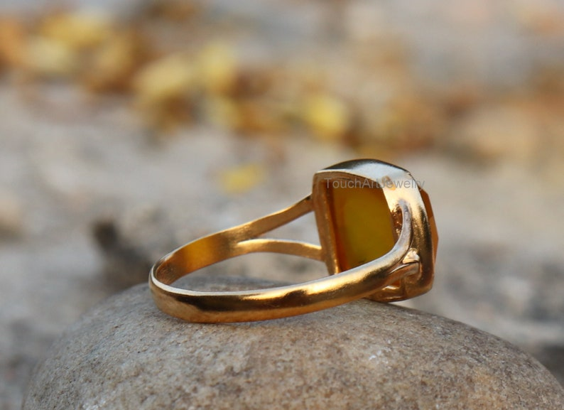 Rose Gold Ring Yellow Chalcedony Ring Sterling Silver Ring Chalcedony Jewelry Natural Aqua Chalcedony Ring Handmade Silver Ring
