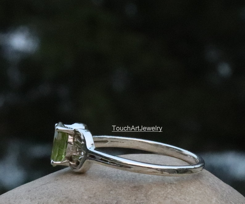 August Birthstone Jewelry Rose Gold Rings 925 Sterling Silver Ring Natural Green Peridot Ring Natural Peridot Jewelry Gold Jewelry