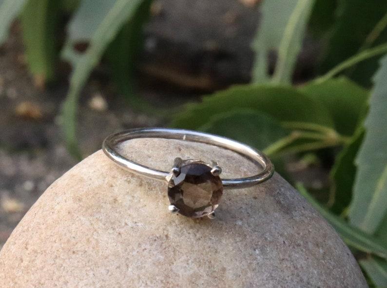 Gift Ring Smoky quartz birthstone Ring Handmade Silver Prong Stone Ring 925 Sterling Silver Ring -Brown Ring Smoky Jewelry