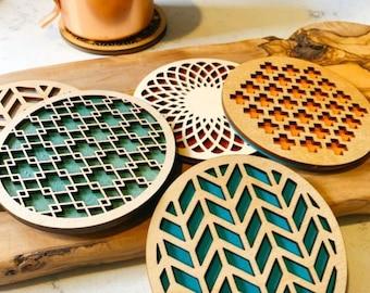 Set of 5 Geometric Coasters,Geometric,New Home Gift,Unique Gifts,Coaster Set,Christmas Gift,Wood Coasters, Drink Coasters, Housewarming Gift