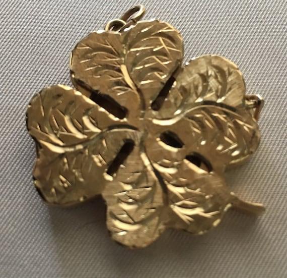 14K Gold Large Clover Locket