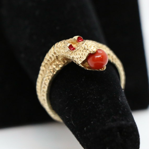 14k Gold Serpent Cocktail Ring