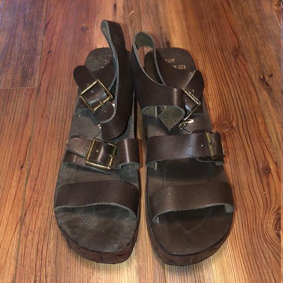 Vintage 1970s Platform Leather Sandals