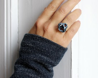 Blue white ring made of papier-mâché for women