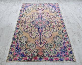 1\u20195\u201d X 2\u20199\u201d ft Beautiful Traditional Motifs Small Rugs Pair Small Rug Turkish Carpet Rug Dark Pink and Turquoise Colors Pair Small Rugs