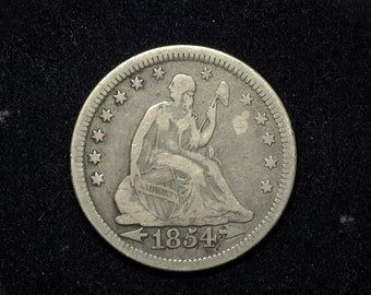 HS&C: 1854 Liberty Seated Quarter F Arrows - US Coin