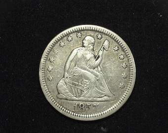 HS&C: 1857 Arrows Liberty Seated Quarter VF - US Coin