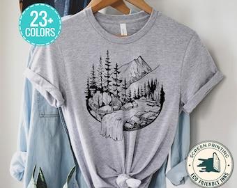 Waterfall T-Shirt Ladies Moss Stones Flowing Water Woman Slim Fit t Shirt Tight tee