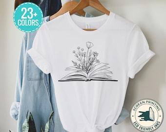 Flower Books Read Shirt, Flower Wild Flower Shirt, Everyday Shirt Teen Shirt, Cute Reading Shirt