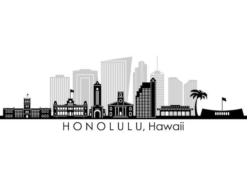 HONOLULU Hawaii USA SKYLINE City Outline Silhouette Vector Graphic svg eps jpg png