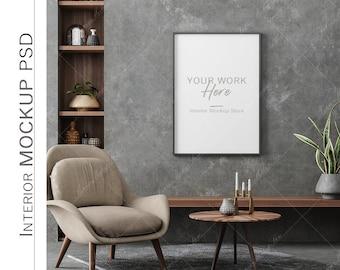 Poster Mockup Minimalist mockup Mockup poster frame in office interior Frame mockup loft industrial style Mockup