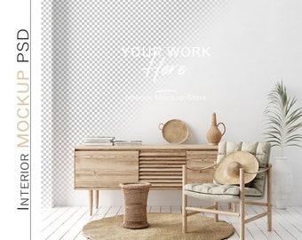 Wall mockup, Minimalist mockup, Living room mockup, Scandinavian interior wall mockup, PSD