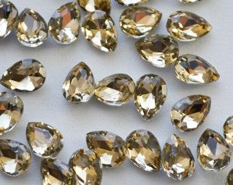 100 x Acrylic 10x6mm Pear Shaped Crystal Jewellery Making Craft Embellishment