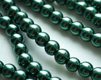 a string glass pearl beads green and brown pine green 6 mm /& 8 mm