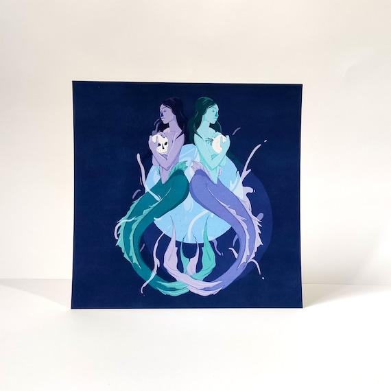 Mermaids - Printed Digital Illustration