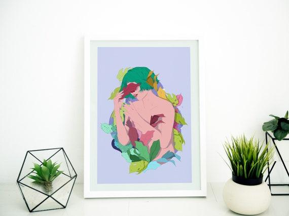 Botanical Girl - Printed Digital Illustration