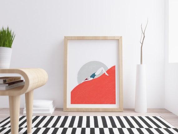Girl in the moon - Digital print illustration