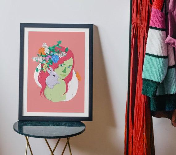 Girl with Rabbit - Digital Illustration Printed