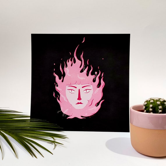 Fire faces - Printed digital illustration