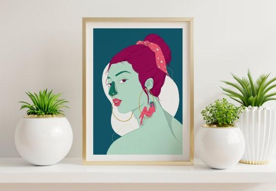 Swing Girl - Printed Digital Illustration