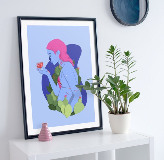 Cactus Girl - Printed Digital Illustration