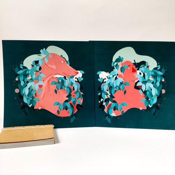 Duo Man & Dog - Digital Printed Illustration