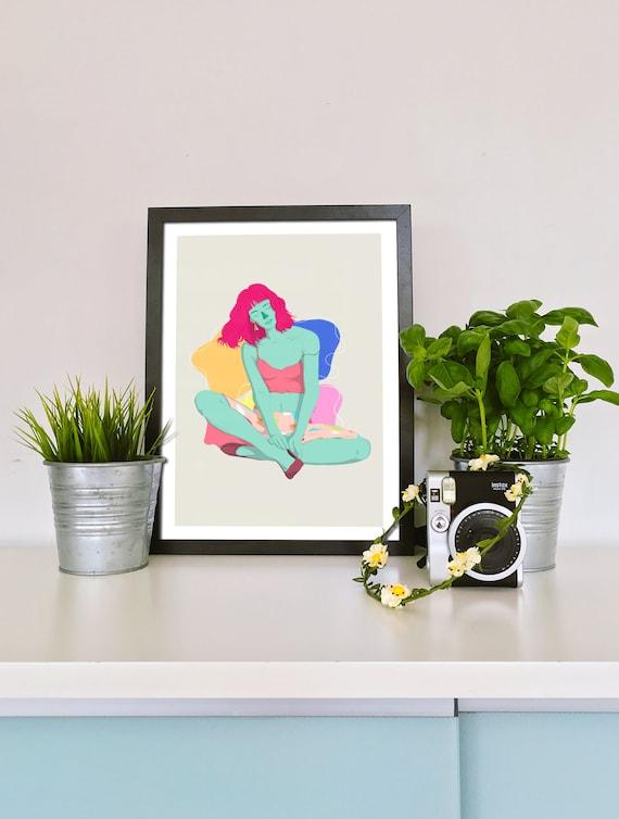 Sitting Girl - Printed Digital Illustration