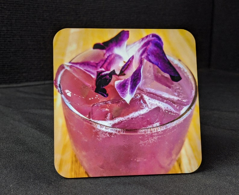 barware party gifts mixed drinks Coasters drink ware cocktails Purple drink cork coasters alcoholic drinks celebrate birthday