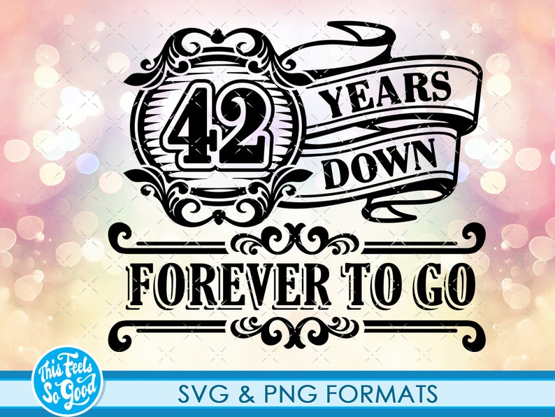 SVG Cutting Files 42th svg anniversary cut file for cricut clipart 42 Anniversary gift svg cut Files Celebrating 42th Anniversary SVG png
