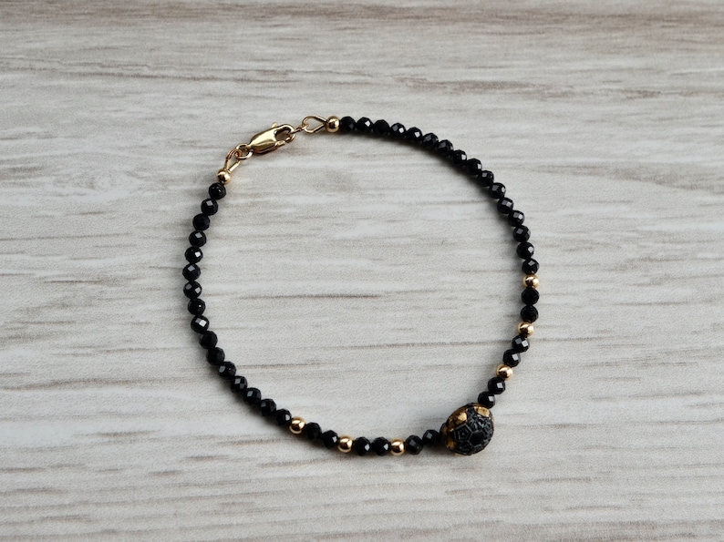 Unique Sparkling Delicate Gold and Black Faceted Bracelet Antique Czech Glass Diminutive Button 3mm Spinel and  14k Gold-Filled Findings