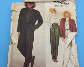 Uncut vogue sewing pattern 2831 Misses Jacket and Pants Pattern Vogue Paris Originals Claude Montana Size 8-10-12  FF