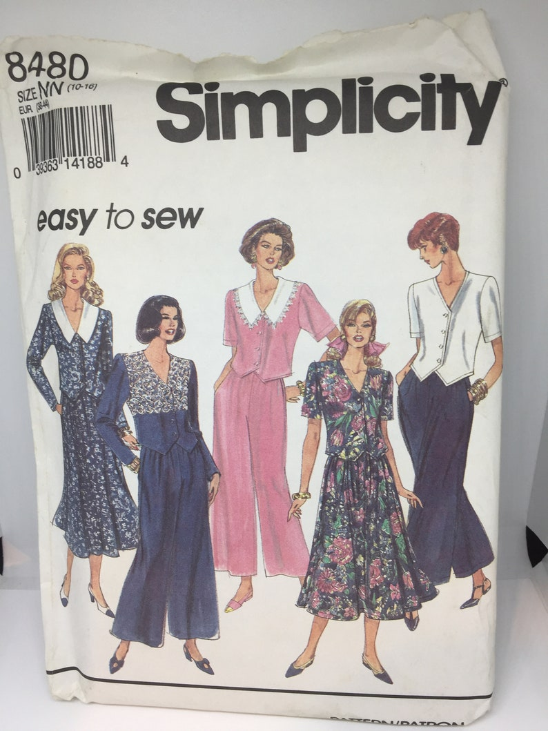 Top Sizes 10-16  Uncut with Instructions 8480 Simplicity 1993 Vintage Easy to Sew Sewing Pattern Misses Pullon Pants,Skirt