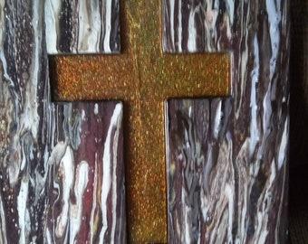 Wood resin inlay Amber sparkle rain drop cross wall hanging.