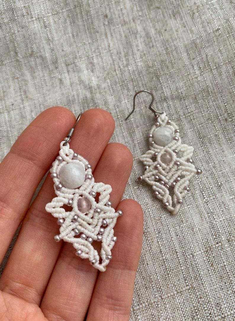 white angels macrame earrings for her   rose quartz and moonstone  boho chic  wedding