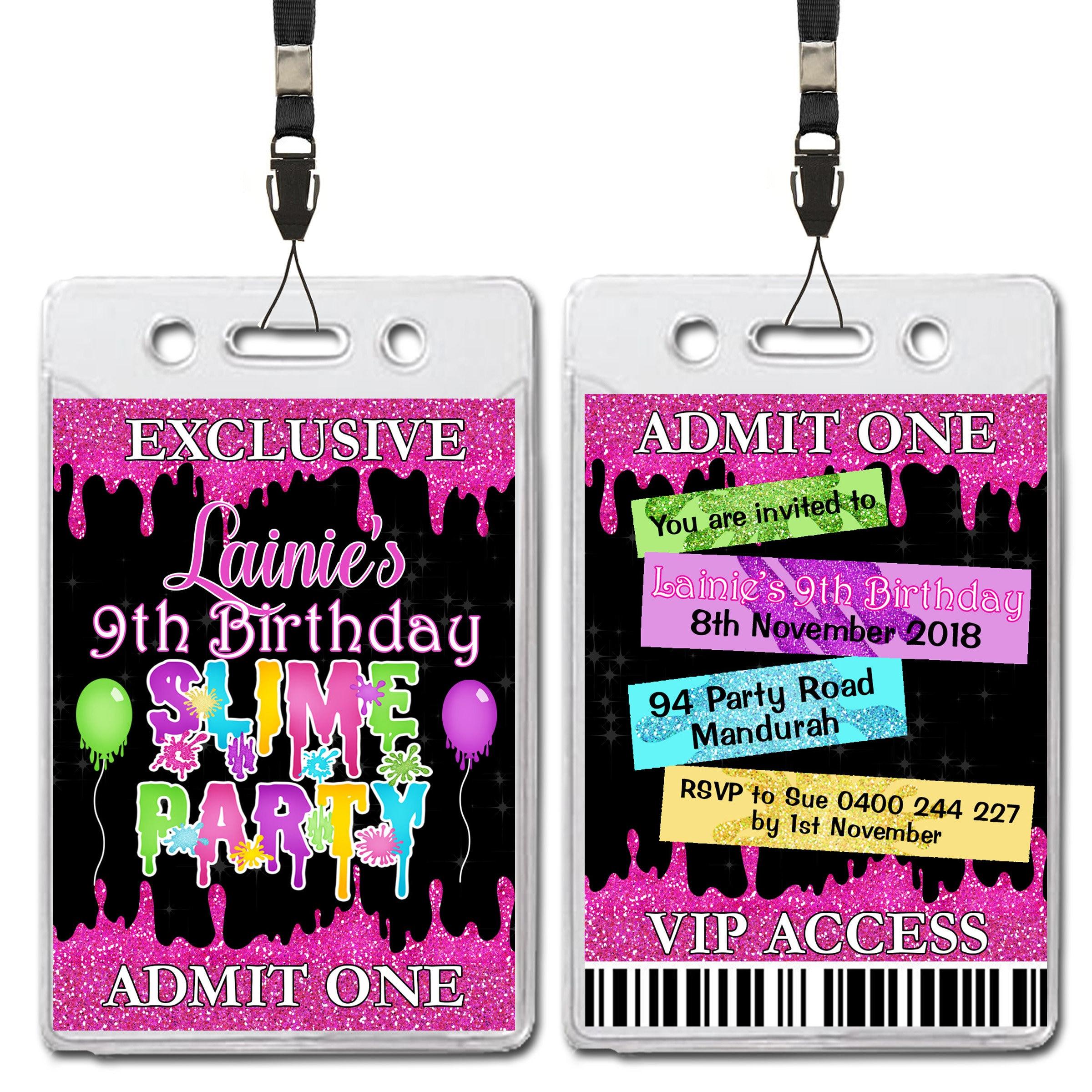 VIP Lanyard Pass Glitter Slime Party Birthday Invitations x 30