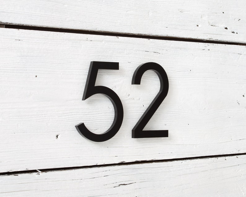Custom Address Sign - 6 inch Modern House Numbers A6 Architectural Building Farmhouse Door Number