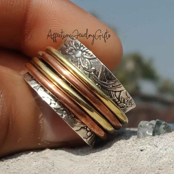 Worry Ring Thumb Ring 925 Silver Ring Fidget Ring Gift For Her Women Ring Meditation Ring Spinner Ring Anxiety Ring Boho Ring