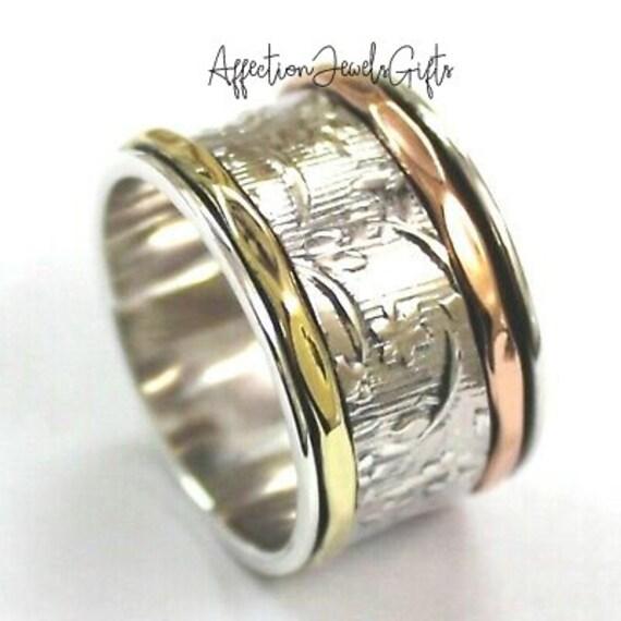 Women Ring Thumb Ring Meditation Ring Promise Ring Worry Ring Gift For Her Spinner Ring Bohemian Ring Fidget Ring 925 Silver Ring