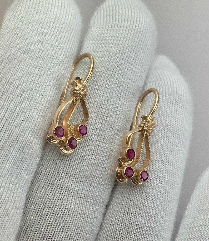 Solid Gold Earrings 583 Vintage Original Soviet Gold Earrings with Ruby 583 Solid Gold 14 KT made in USSR 14 KT Ruby Rose Gold Earrings