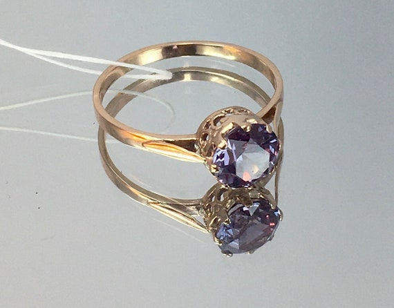 Vintage Original Soviet Rose Gold Ring with Alexan