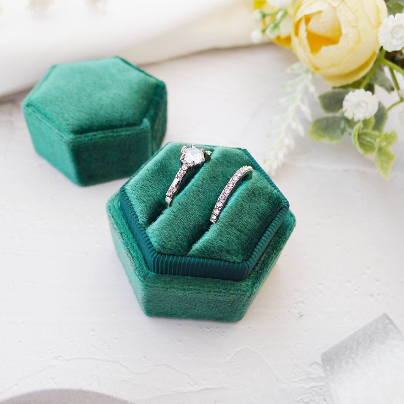 Emerald Green Wedding Ring Box Double Slot Ring Box,Engagement ring box,Vintage ring box,Ring Bearer,Proposal Ring box,Ring holder